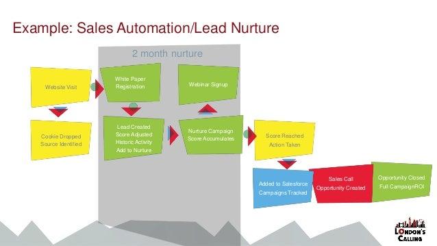 2 month nurture Website Visit Example: Sales Automation/Lead Nurture White Paper Registration Cookie Dropped Source Identi...