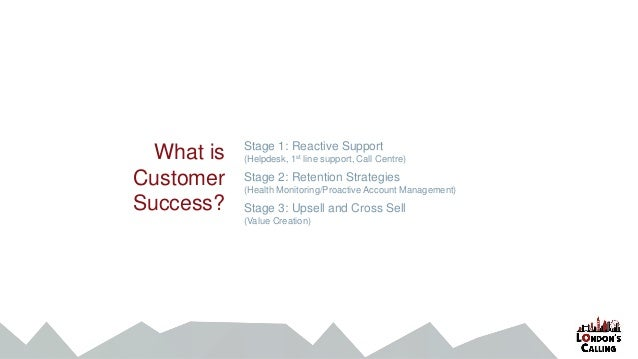 What is Customer Success? Stage 1: Reactive Support (Helpdesk, 1st line support, Call Centre) Stage 2: Retention Strategie...