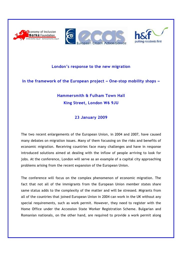 London's response to the new migration   In the framework of the European project « One-stop mobility shops »             ...