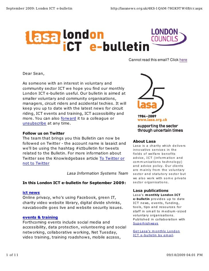 September 2009: London ICT e-bulletin                    http://lasanews.org.uk/4KS-1QAM-78GK9T W6B/cr.aspx               ...