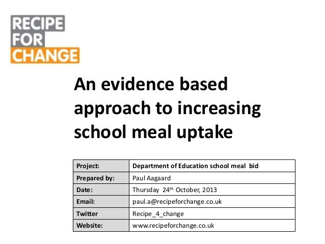 An evidence based approach to increasing school meal uptake Project:  Department of Education school meal bid  Prepared by...