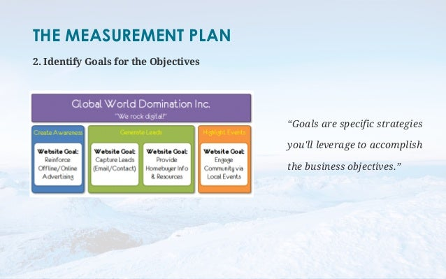 """THE MEASUREMENT PLAN  2. Identify Goals for the Objectives  """"Goals are specific strategies  you'll leverage to accomplish ..."""
