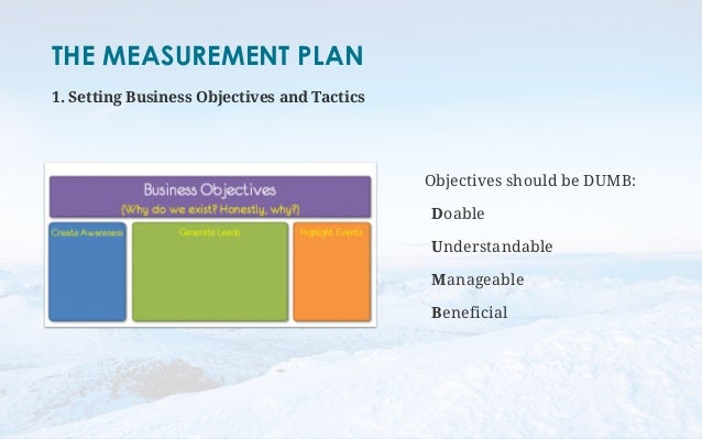 THE MEASUREMENT PLAN  1. Setting Business Objectives and Tactics  Objectives should be DUMB:  Doable  Understandable  Mana...