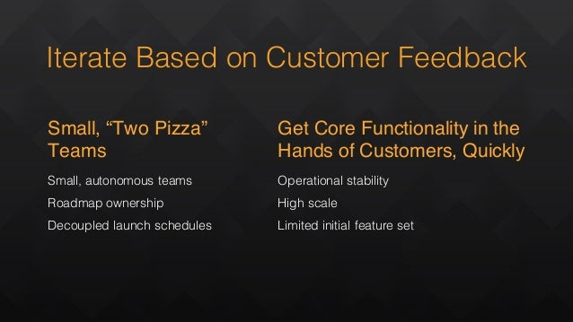 """Small, autonomous teams Roadmap ownership Decoupled launch schedules Small, """"Two Pizza"""" Teams Get Core Functionality in th..."""