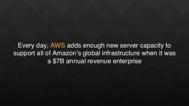 Every day, AWS adds enough new server capacity to support all of Amazon's global infrastructure when it was a $7B annual r...