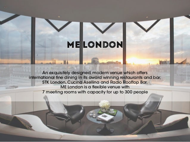 ME LONDON An exquisitely designed, modern venue which offers international fine dining in its award winning restaurants a...