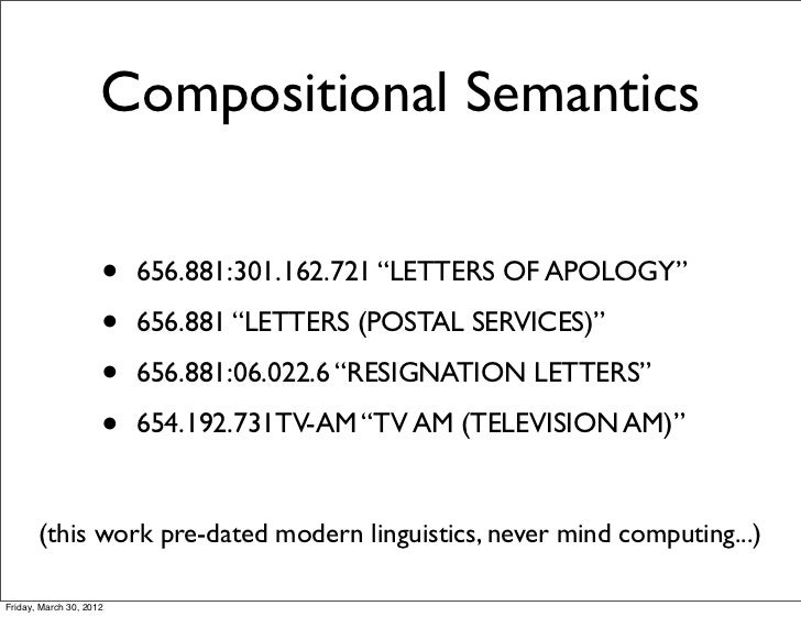 "Compositional Semantics                     •   656.881:301.162.721 ""LETTERS OF APOLOGY""                     •   656.881 ""..."