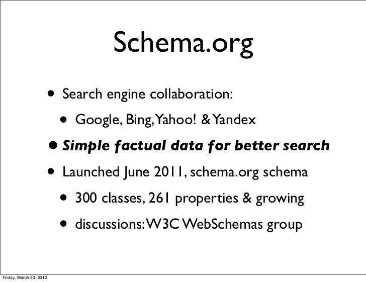 Schema.org                     • Search engine collaboration:                      • Google, Bing,Yahoo! & Yandex         ...