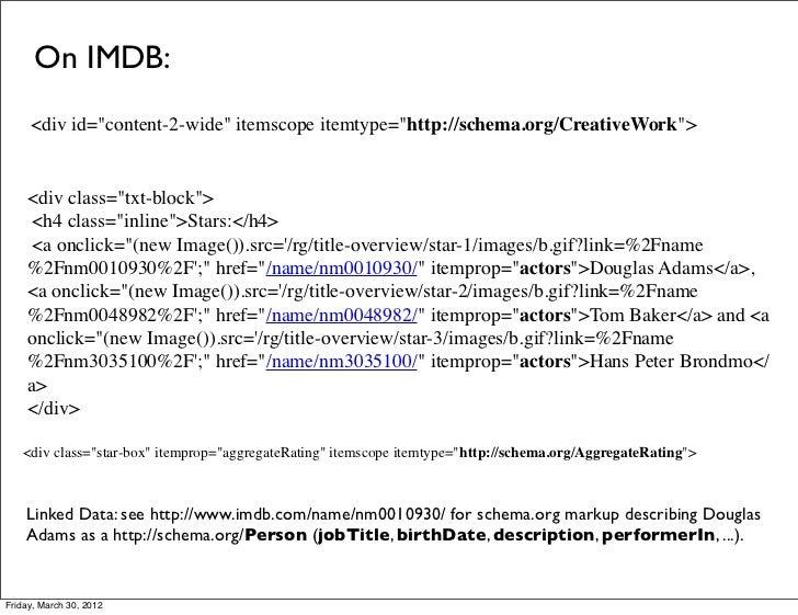 "On IMDB:     <div id=""content-2-wide"" itemscope itemtype=""http://schema.org/CreativeWork"">    <div class=""txt-block"">     ..."