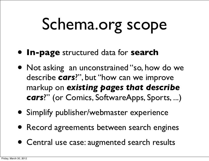 "Schema.org scope             • In-page structured data for search             • Not asking an unconstrained ""so, how do we..."