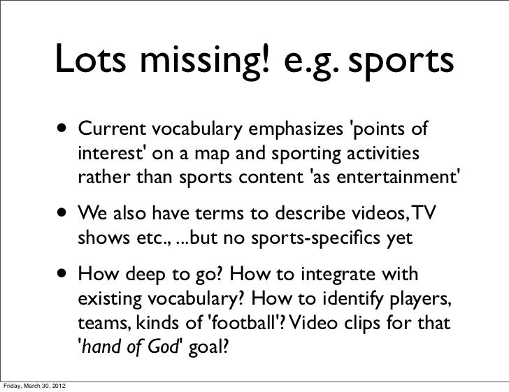 Lots missing! e.g. sports                  • Current vocabulary emphasizes points of                         interest on a...