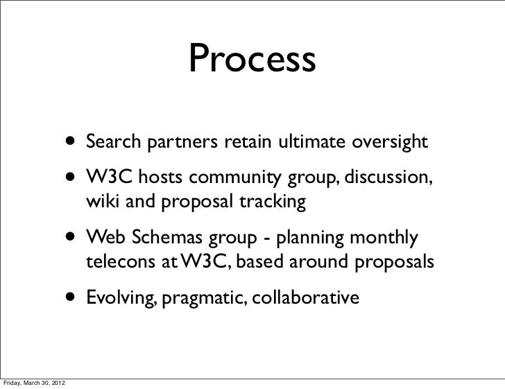 Process                     • Search partners retain ultimate oversight                     • W3C hosts community group, d...