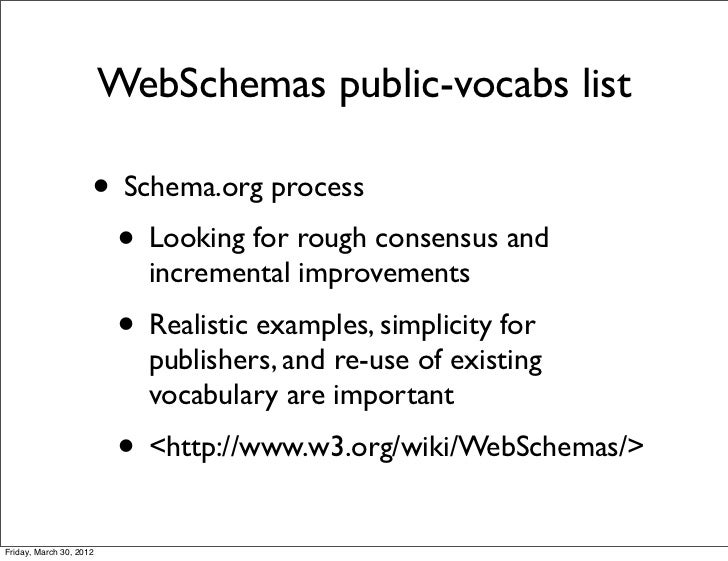 WebSchemas public-vocabs list                     • Schema.org process                      • Looking for rough consensus ...