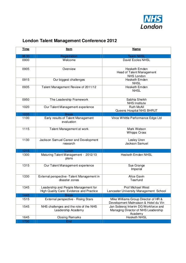 London Talent Management Conference Agenda