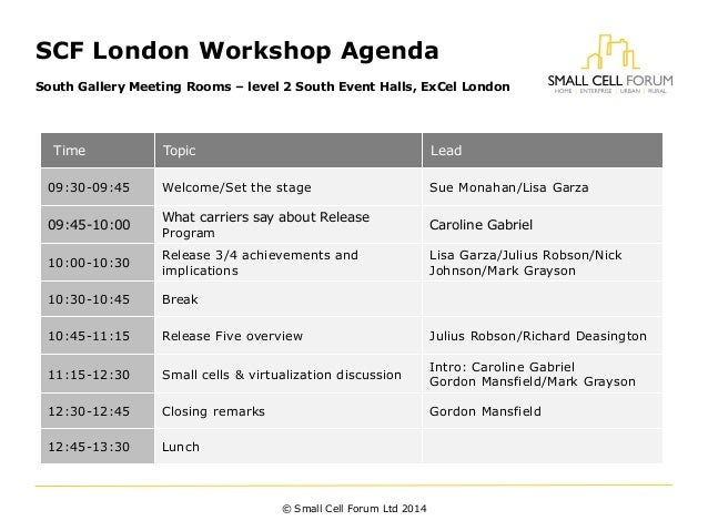 SCF London Workshop Agenda South Gallery Meeting Rooms – level 2 South Event Halls, ExCel London © Small Cell Forum Ltd 20...