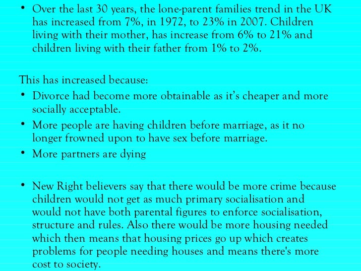 reasons for the increase in lone parent Statistical bulletin: families and households:  or a lone parent with at least one child who live at the  possible reasons for more men living alone at this.