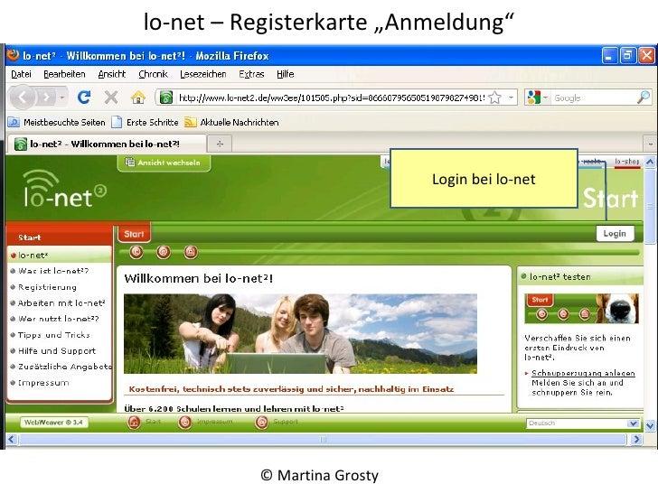 "lo-net – Registerkarte ""Anmeldung"" © Martina Grosty  Login bei lo-net"