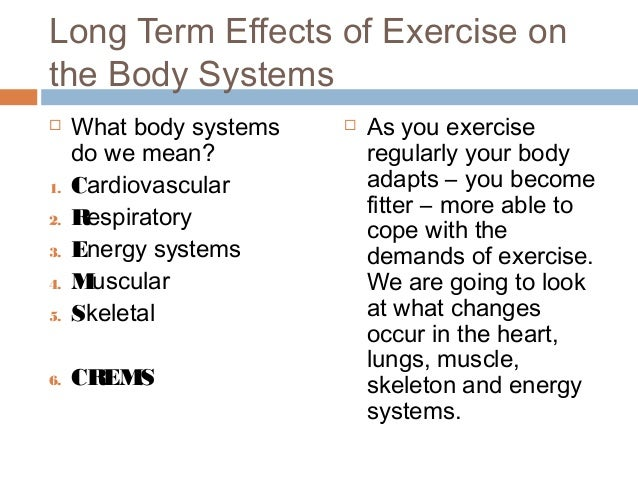 effects of exercise on the body systems