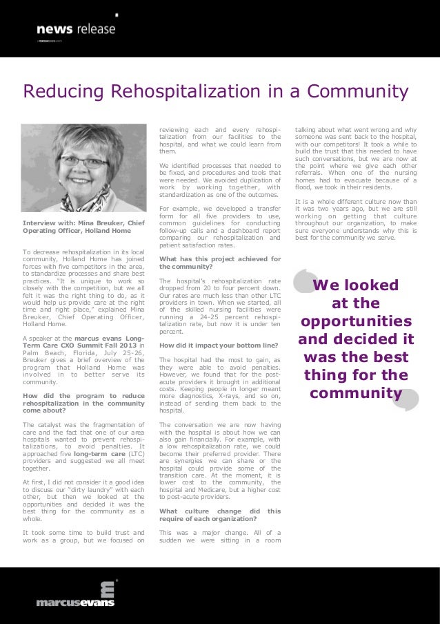 Interview with: Mina Breuker, ChiefOperating Officer, Holland HomeTo decrease rehospitalization in its localcommunity, Hol...