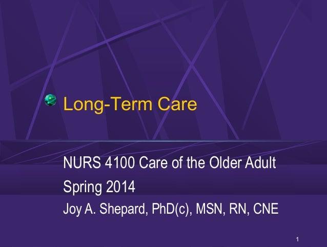 Long-Term Care NURS 4100 Care of the Older Adult Spring 2014 Joy A. Shepard, PhD(c), MSN, RN, CNE 1