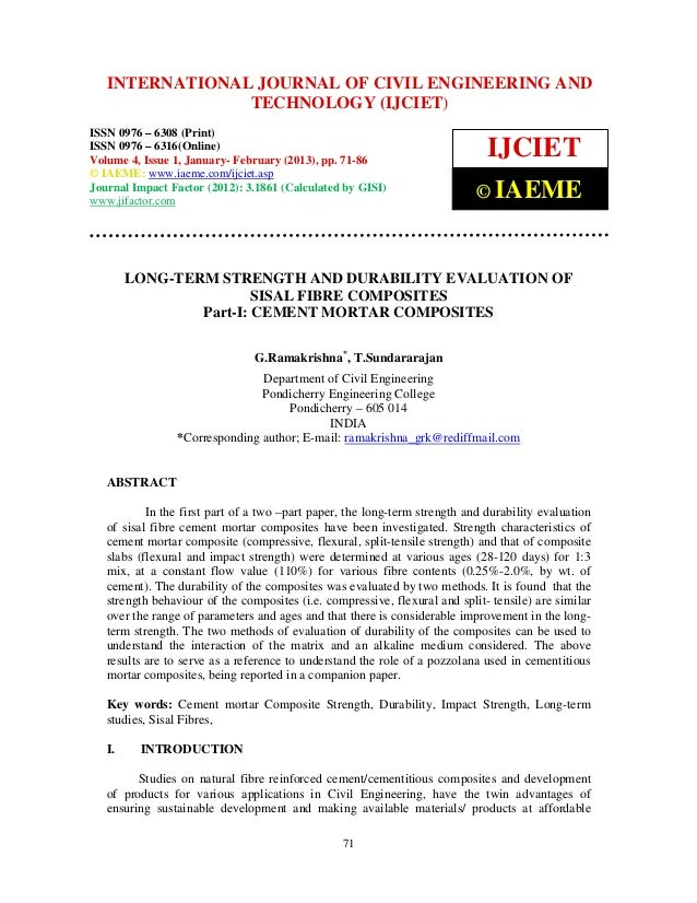 International Journal of Civil JOURNAL OF CIVIL ENGINEERING (Print),   INTERNATIONAL Engineering and Technology (IJCIET), ...