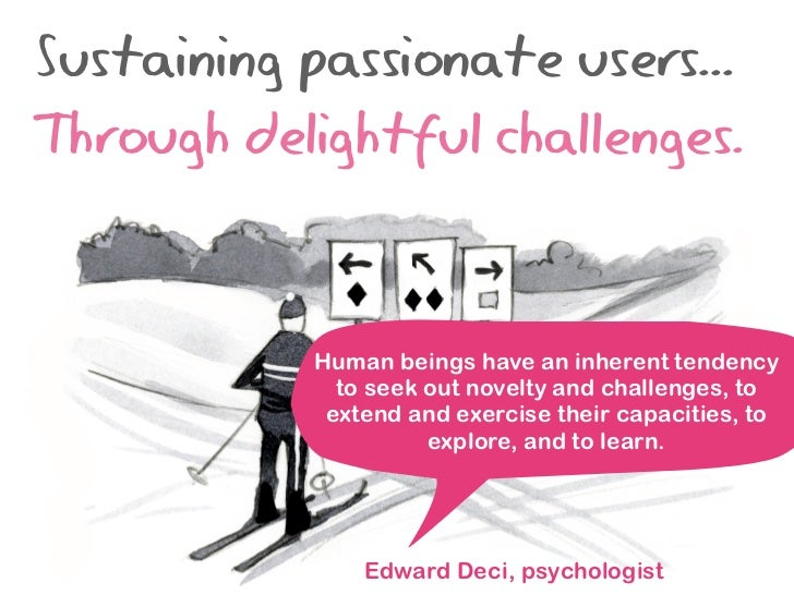 Sustaining passionate users...Through delightful challenges.           Human beings have an inherent tendency             ...