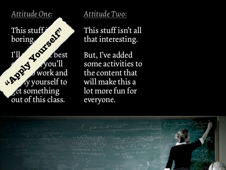"""Attitude One:        Attitude Two: This stuff is        This stuff isn't all                                       """"      ..."""