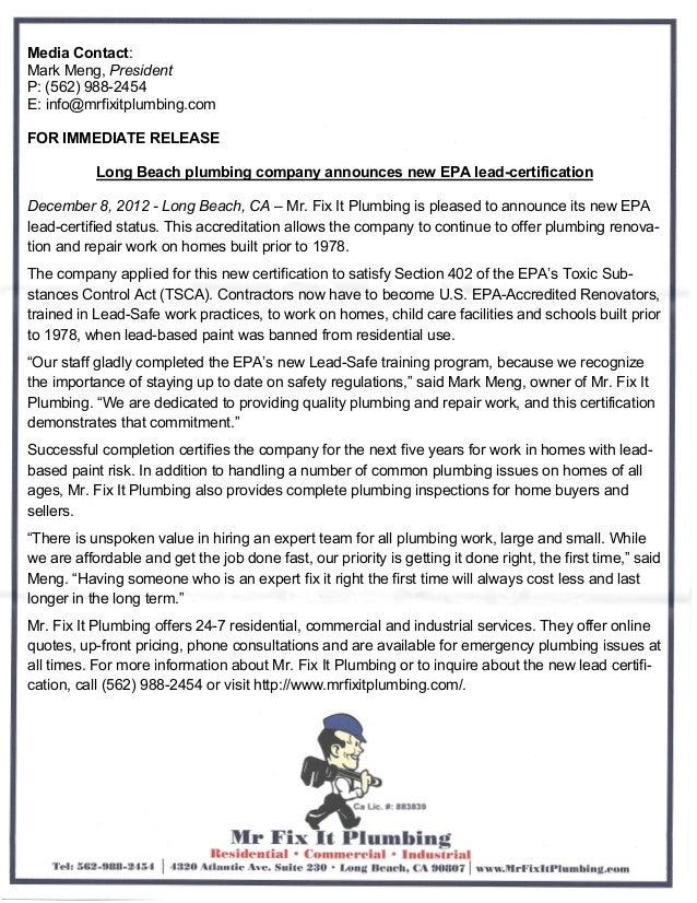 Long Beach plumbing company announces new EPA lead-certification