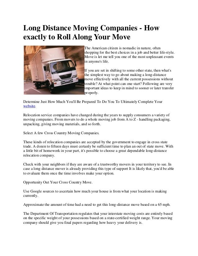 Long Distance Moving Companies - Howexactly to Roll Along Your Move                                        The American ci...