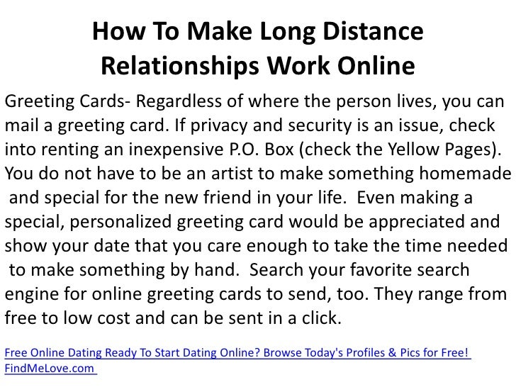 How to make an online dating relationship work