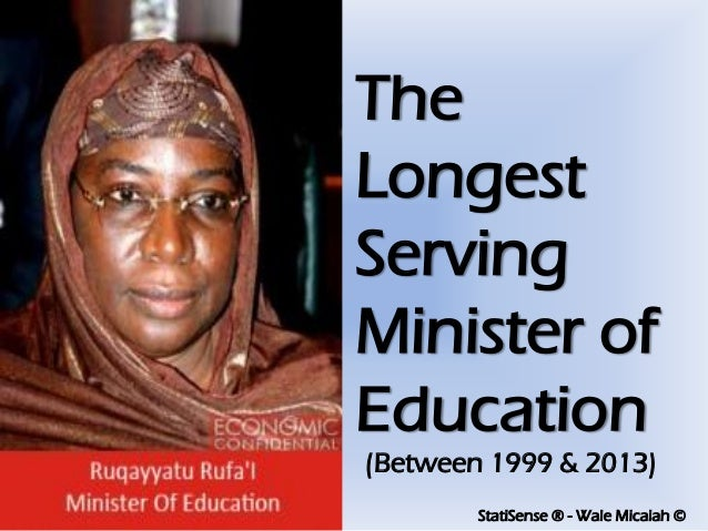StatiSense ® - Wale Micaiah © The Longest Serving Minister of Education (Between 1999 & 2013)