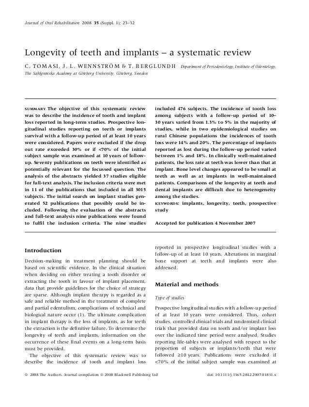 Journal of Oral Rehabilitation 2008 35 (Suppl. 1); 23–32Longevity of teeth and implants – a systematic review             ...