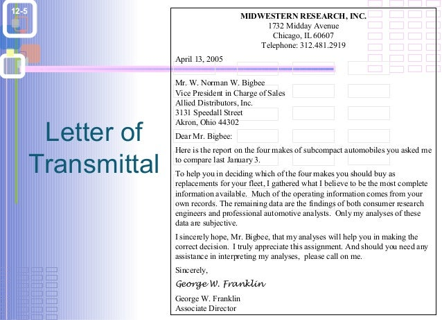 Sample Letter Of Transmittal