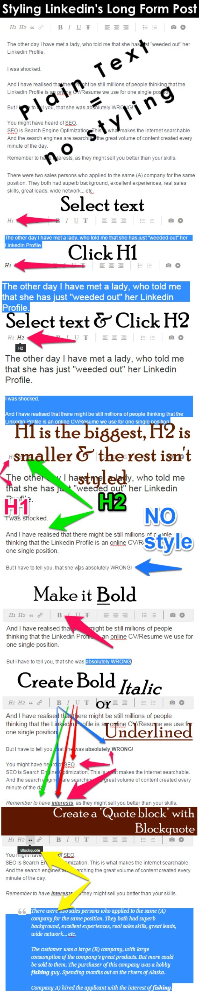 "Styling Linkedin's Long Form Post  5"" fl     Ht H:  at.  H 1"" L. "" 'I' _ ;   The eth-er-tt. at, ""I h. at. te hhet . a I. au..."