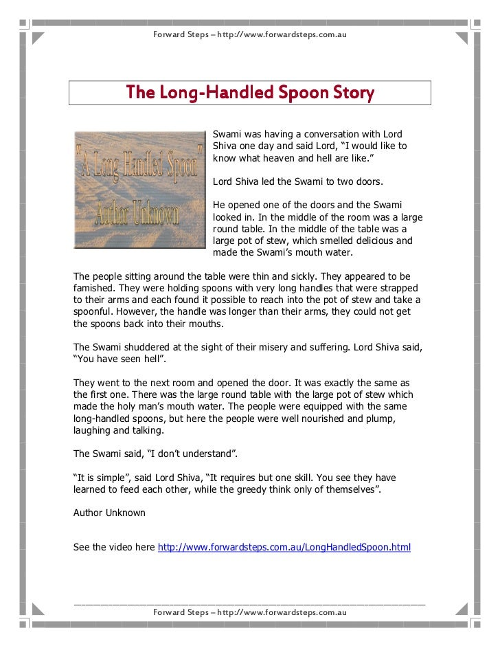 Forward Steps – http://www.forwardsteps.com.au                 Long-             The Long-Handled Spoon Story             ...