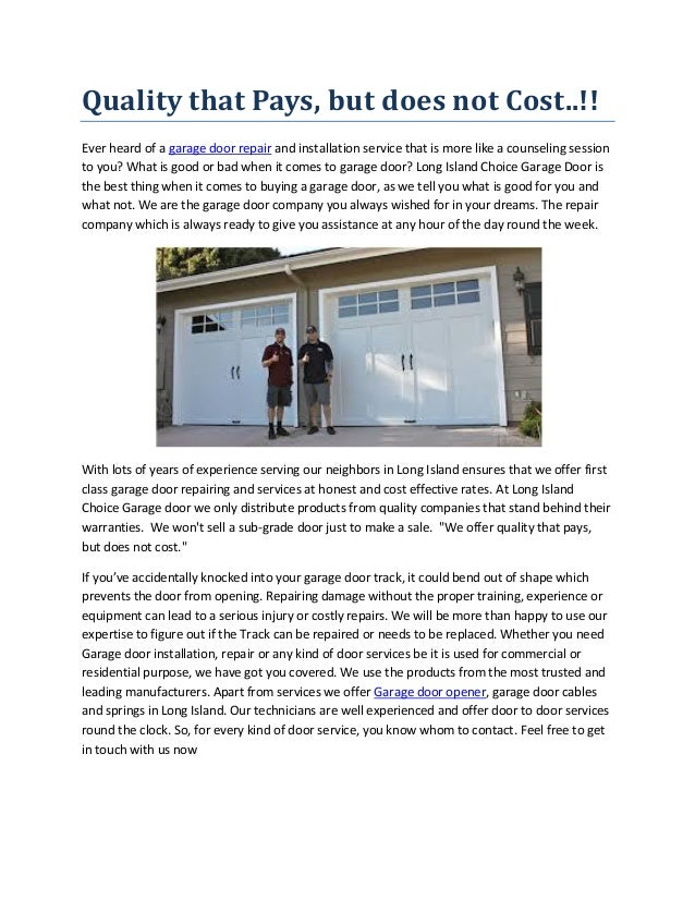 Long Island Garage Door Installation And Repair Services