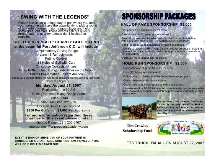 SWING WITH THE LEGENDS      Please join us for a unique day of golf where you and                                         ...
