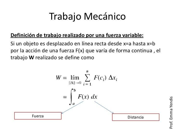 Trabajo MecánicoDefinición de trabajo realizado por una fuerza variable:Si un objeto es desplazado en línea recta desde x=...