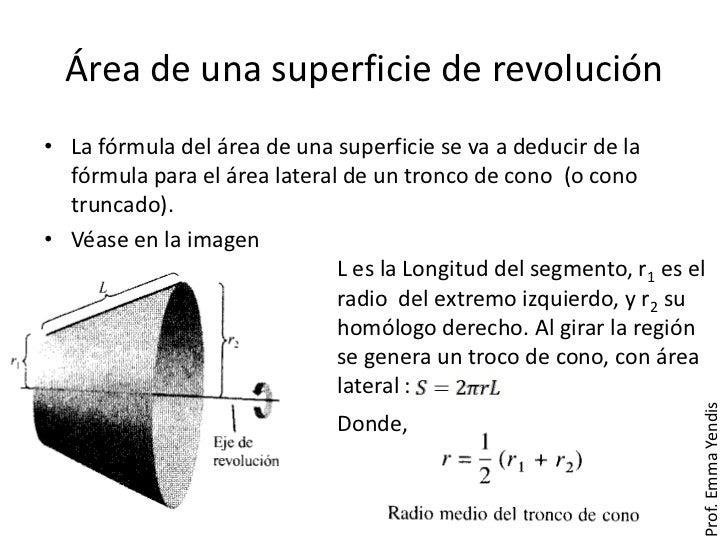 Área de una superficie de revolución• La fórmula del área de una superficie se va a deducir de la  fórmula para el área la...