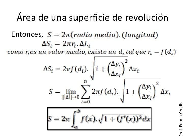 Área de una superficie de revoluciónEntonces,                                        Prof. Emma Yendis