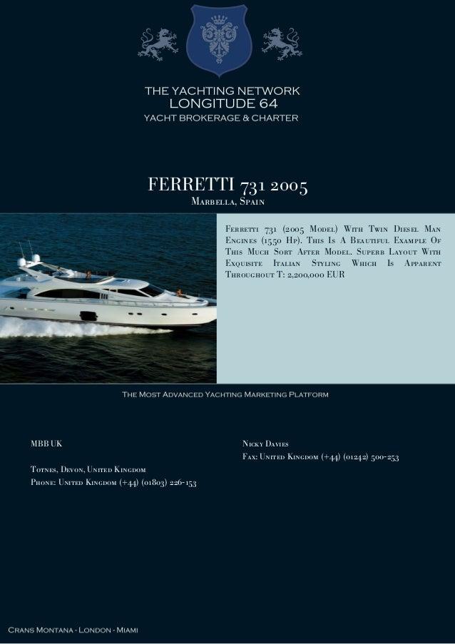 FERRETTI 731 2005 Marbella, Spain Ferretti 731 (2005 Model) With Twin Diesel Man Engines (1550 Hp). This Is A Beautiful Ex...