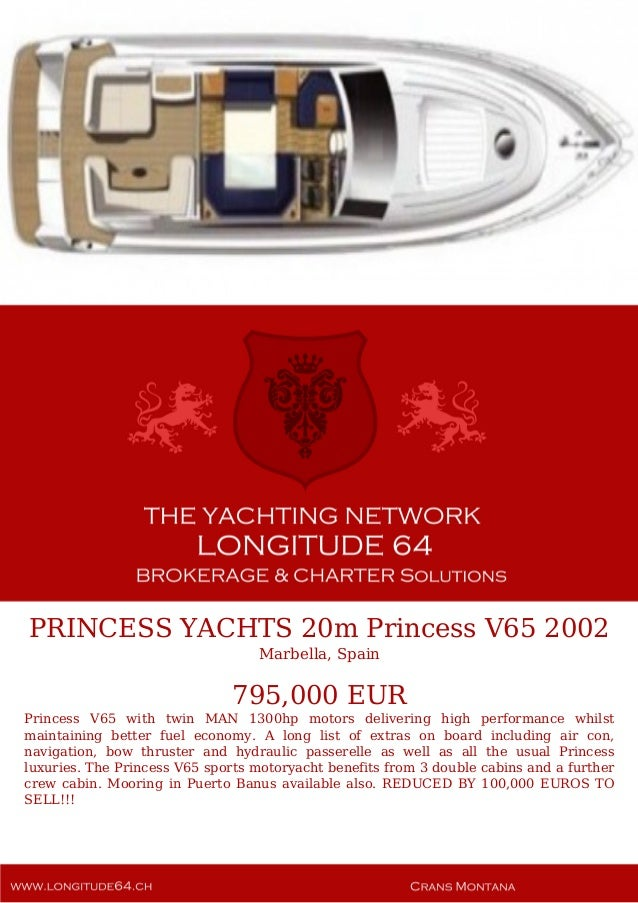 Princess Yachts 20m Princess V65 2002 795 000 For Sale Yacht Broc