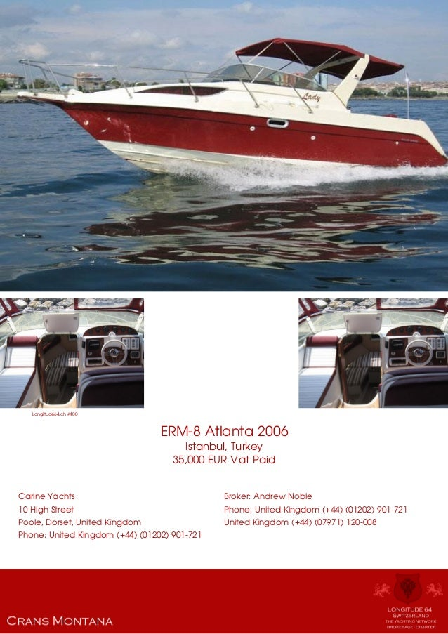 Erm 8 Atlanta 2006 For Sale Yacht Brochure Presented By L