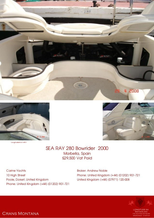 SEA RAY 280 Bowrider , 2000, £29,500 For Sale Yacht Brochure