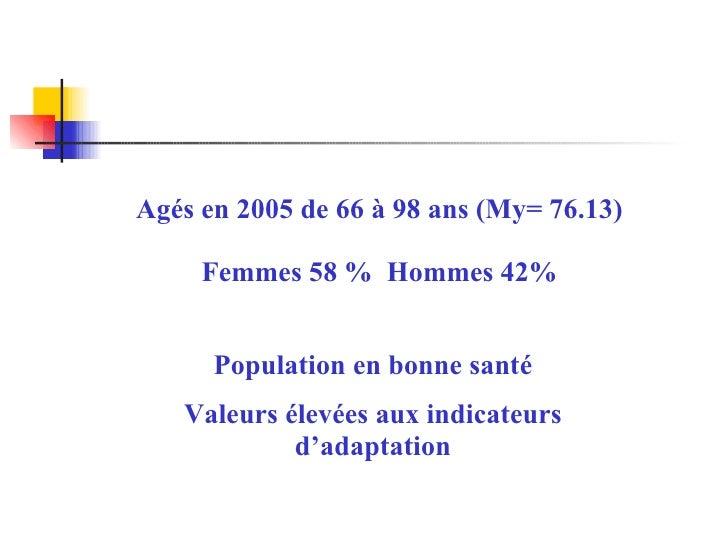 Agés en 2005 de 66 à 98 ans (My= 76.13) Femmes 58 %  Hommes 42% Population en bonne santé Valeurs élevées aux indicateurs ...