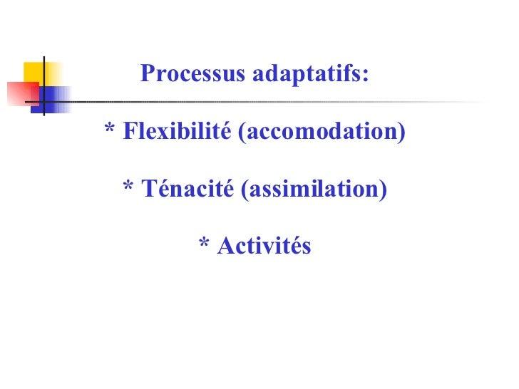 Processus adaptatifs: * Flexibilité (accomodation) * Ténacité (assimilation) * Activités