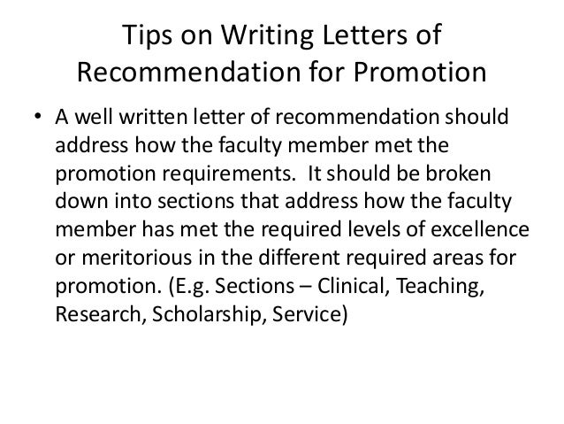 letter of recommendation for promotion