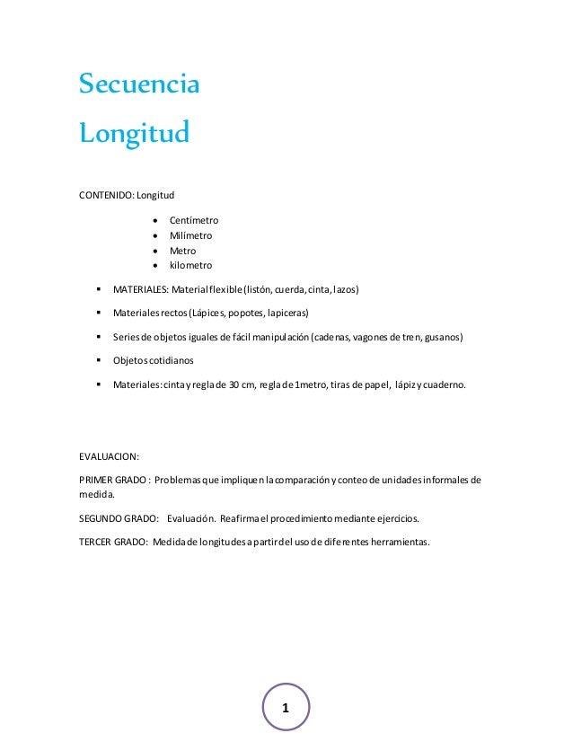 1 Secuencia Longitud CONTENIDO:Longitud  Centímetro  Milímetro  Metro  kilometro  MATERIALES: Material flexible(listó...