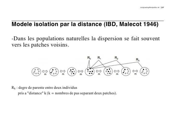 LongLastingMontpellier.nb   27     Modele isolation par la distance (IBD, Malecot 1946)  -Dans les populations naturelles ...