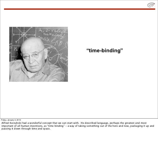 """""""time-binding""""Friday, January 4, 2013Alfred Korzybski had a wonderful concept that we can start with. He described languag..."""